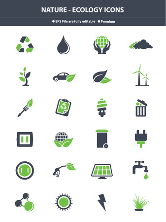 Nature   Ecology icons,Green   Gray version,vector Vector