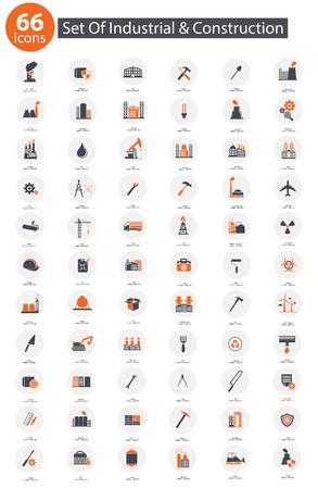 Industrial icon set,Orange version