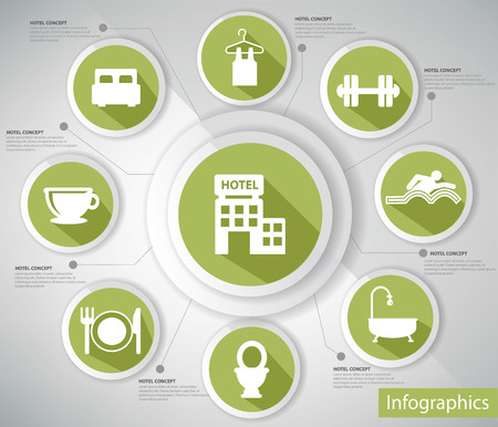 Hotel concept,Infographic s,Green version Illustration
