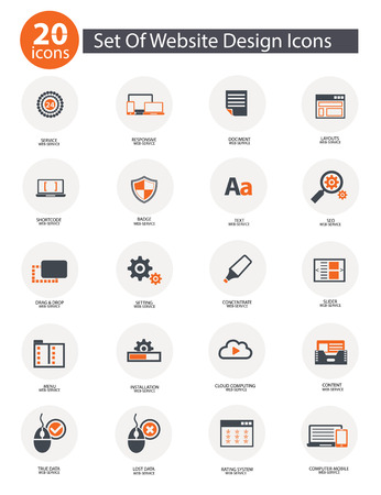 20 Set Of Web Design Icons,Orange version,vector Vector