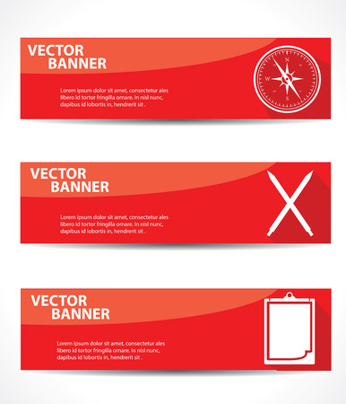 Compass,Pen,Document banners,Red version Vector