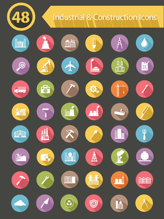 Industrial   Construction Icons,Colorful version,vector Vector