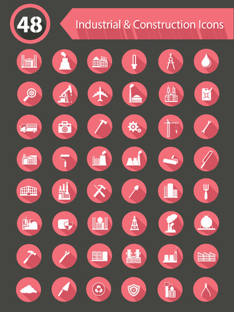 48 Industry   Construction Flat Icons,Pink version Stock Vector - 26703990