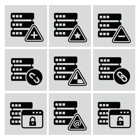 cylinder lock: Database icons,vector Illustration