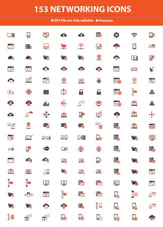 153 Networking   Communication Icons,Orange version