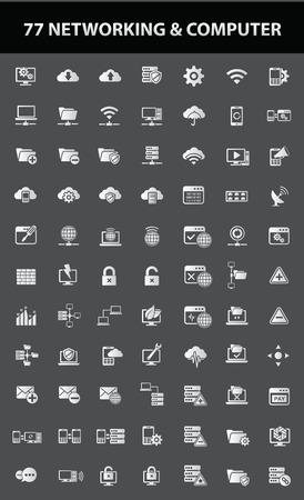 risico analyse: Netwerken Communicatie pictogrammen, vector Stock Illustratie