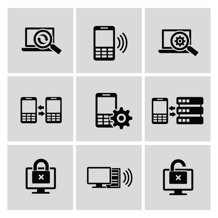 Mobile and communication icons,vector Vector