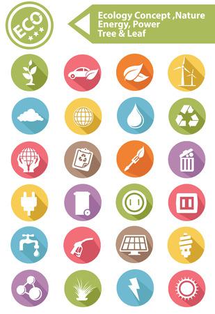 antipollution: Ecolog�a, Naturaleza, iconos ener g�a, Versi�n colorida