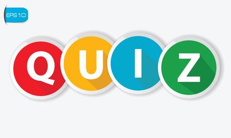 kwis: Quiz knoppen op een witte achtergrond, vector Stock Illustratie