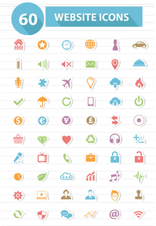 website icons: Website icons,Colorful version,vector Illustration