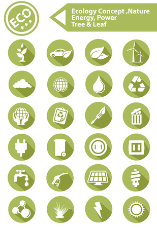 Ecology,Nature,Ener gy Icons,Green version,vector