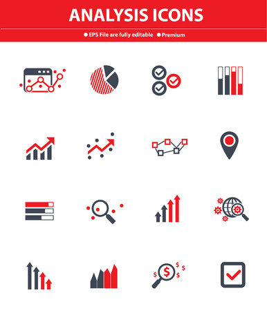 Analysis icons on white background,Red version Vector