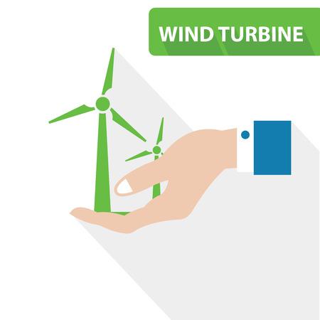 windpower: Wind turbine concept,vector Illustration