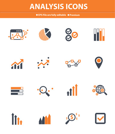 Analysis icons on white background,Orange version Vector