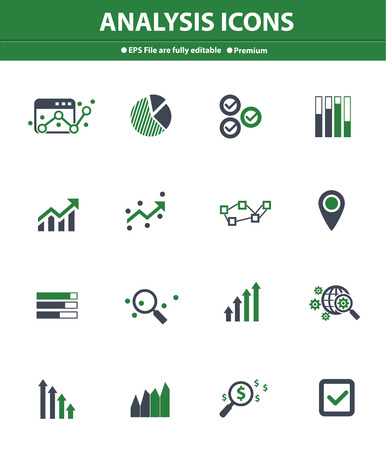 Analysis icons on white background,Green version Vector