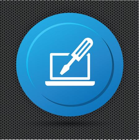 laptop repair: Repair laptop button,vector