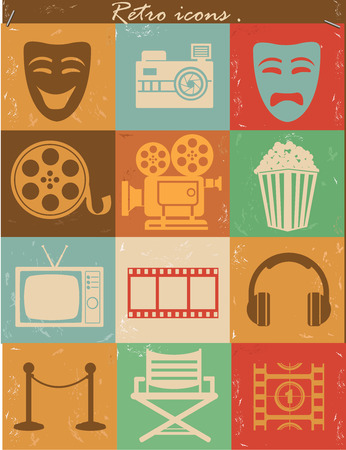 Movie icons,Vintage version,vector Vector