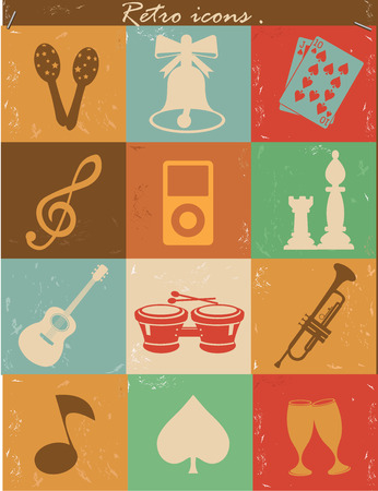 Entertainment icons,Vintage version,vector Vector