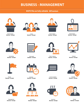 Business management icons,Orange version,vector Vector