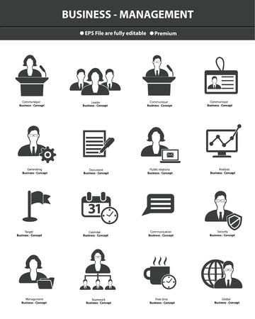 Business management icons,Black version,vector Illustration