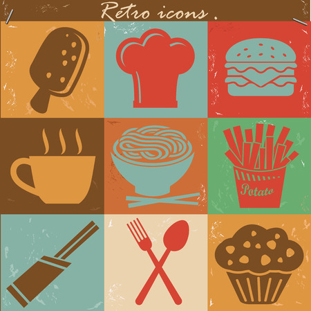 Food icons,Vintage version,vector Vector