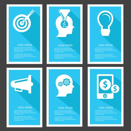 funnel: Goal management Banners,Blue version,vector Illustration
