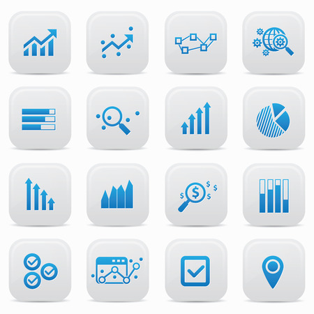 Business analysis buttons,Blue version Vector