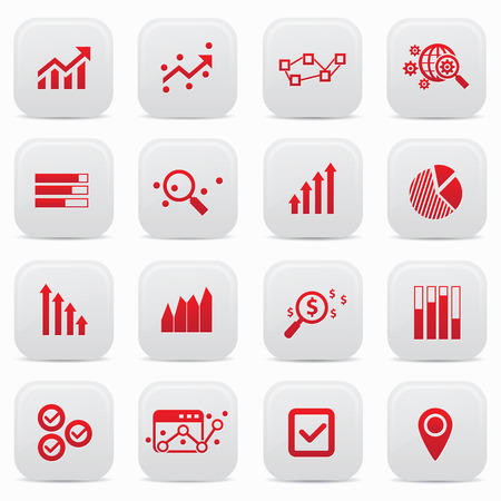Business analysis buttons,Red version Vector
