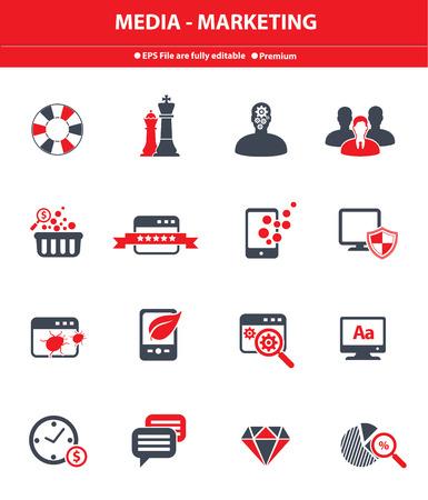 Media - Marketing icons,Red version,vector Vector