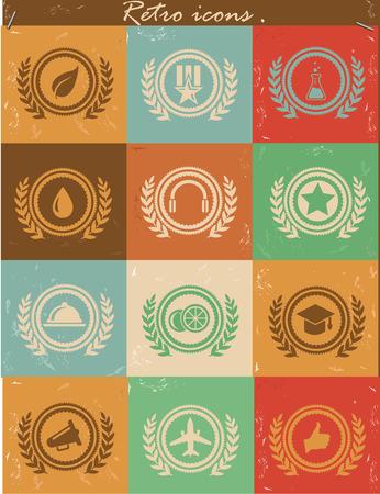 Badges icons,Retro vector Vector