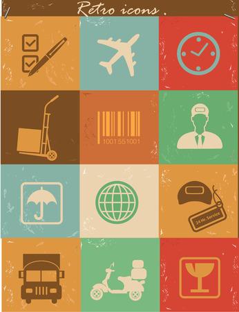 Logistics icons,Retro vector Vector