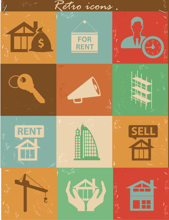 Real estate icons,Retro version,vector Vector