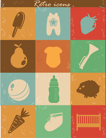 Baby icons,Vintage version,vector Vector