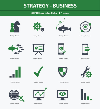 ions: Strategy   Business concept icons,Green version,vector