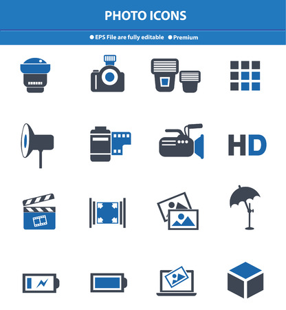 ions: Photo icons,Blue version,vector Illustration