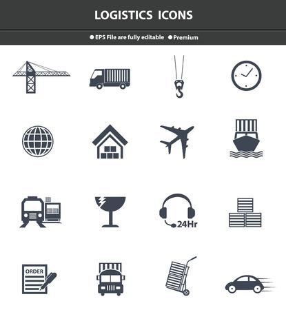 Logistics black icons,vector Vector