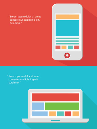 Smart phone and Laptop flat design for text,vector Vector