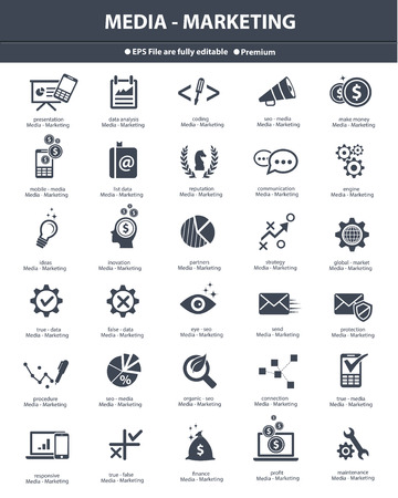results: Media   Marketing icons,black version,vector