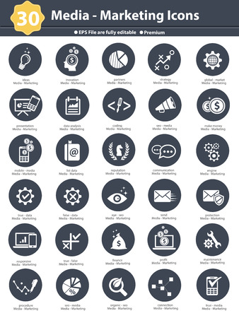 Media   Marketing icons,dark version on white background,vector Stock Vector - 27777543