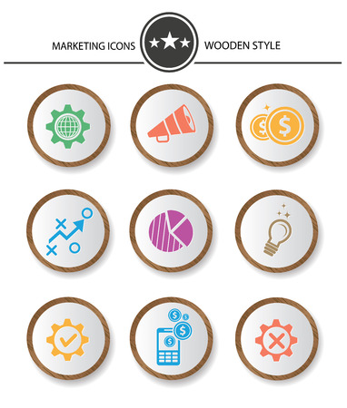 Marketing buttons,Wood style on white background,vector Vector