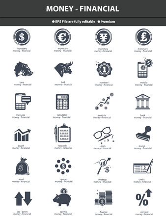 e auction: Stock exchange   finance icons,dark version on white background,vector