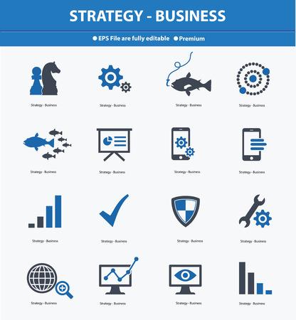 Strategy   Business concept icons,Blue version,vector Vector