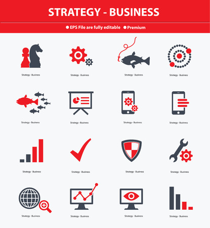 Strategy   Business concept icons,Red version,vector Vector