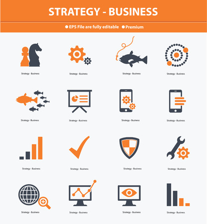 Strategy   Business concept icons,Orange version,vector Vector