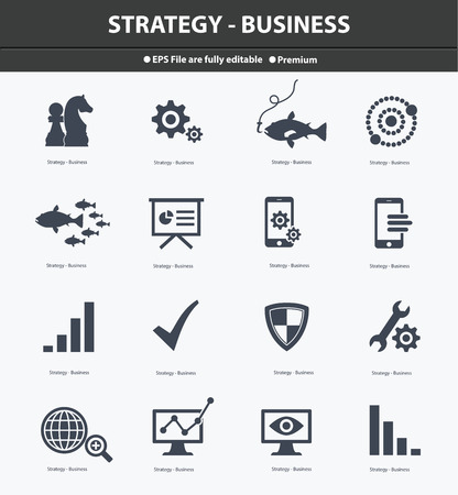 Strategy   Business concept icons,Black version,vector Vector