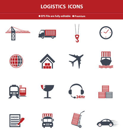 Logistics red icons,vector Vector