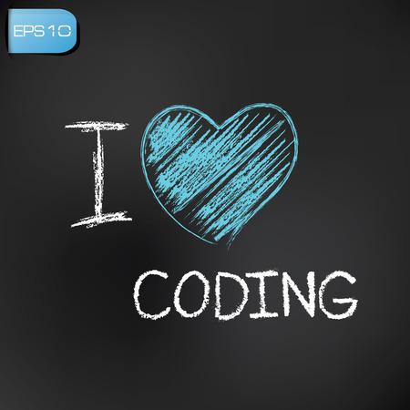 kódování: Miluju kódování na tabuli pozadí, vektor Ilustrace