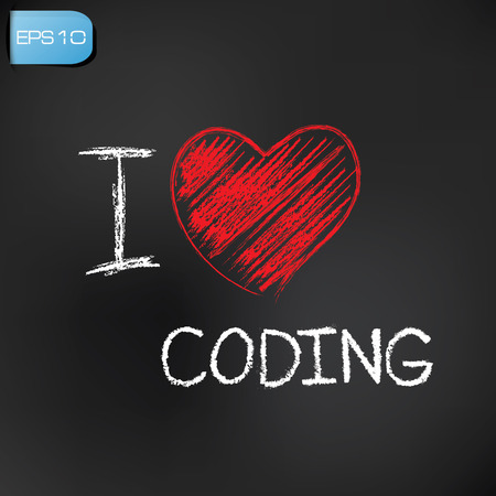 I love coding on blackboard background,vector Stock Vector - 27680548