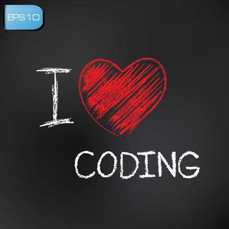 I love coding on blackboard background,vector Stock Vector - 27680548