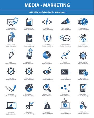 inovation: Media   Marketing concept icons,Blue version,vector